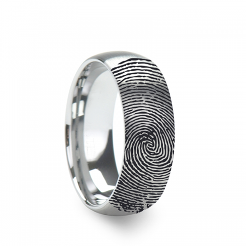 Capetians Engraved Domed Brushed Tungsten Wedding Band