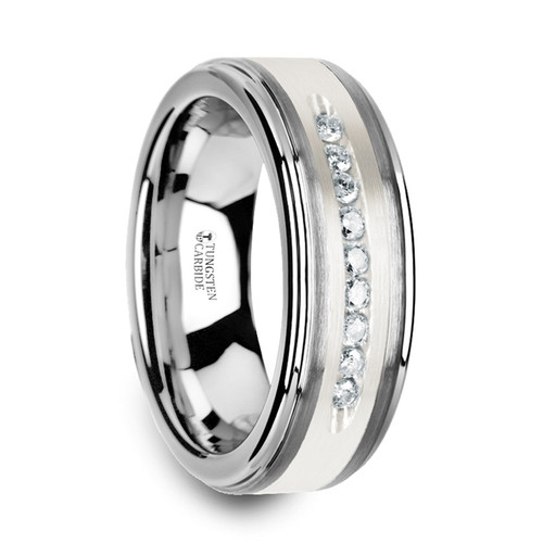 Albano Tungsten Wedding Band with Brushed Silver Inlay and 9 White Diamonds