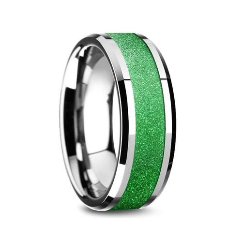 Ceolred Tungsten Carbide Men's Wedding Band with Sparkling Green Inlay