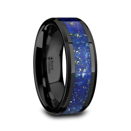 Argeius Men's Black Ceramic Wedding Band with Blue Lapis Inlay