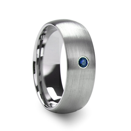 Nikolaus Men's Domed Brushed Tungsten Wedding Band with Blue Diamond