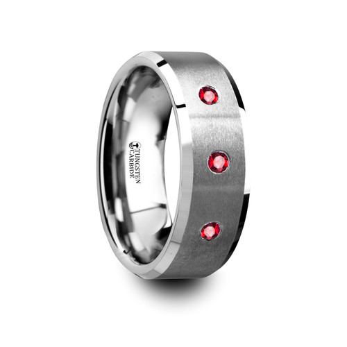 Formosus Brushed Tungsten Wedding Band with Rubies