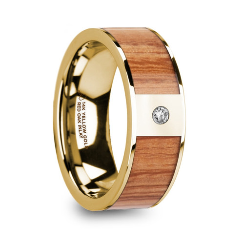 Dyplaios 14k Yellow Gold Men's Diamond Wedding Band with Red Oak Wood Inlay