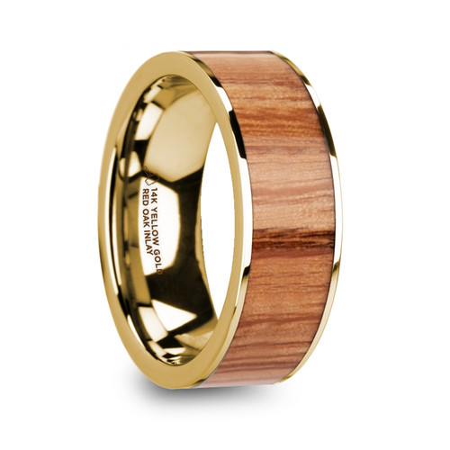 Antikles 14k Yellow Gold Men's Wedding Band with Red Oak Wood Inlay