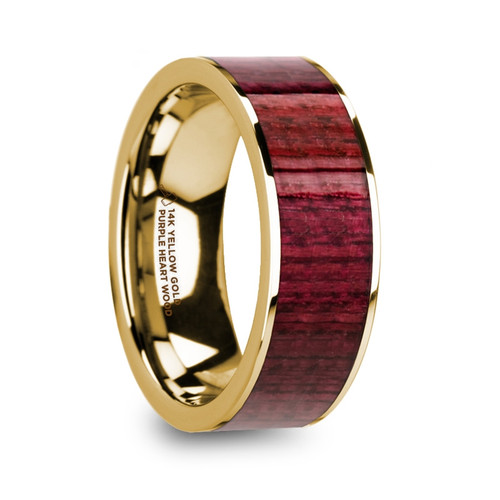 Seth 14k Yellow Gold Men's Wedding Band with Purpleheart Wood Inlay