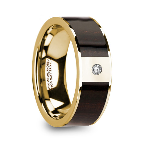 Diodoros 14k Yellow Gold Men's Wedding Band with Ebony Wood Inlay & Diamond