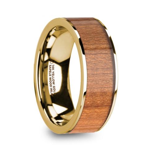 Leukios 14k Yellow Gold Men's Wedding Band with Sapele Wood Inlay