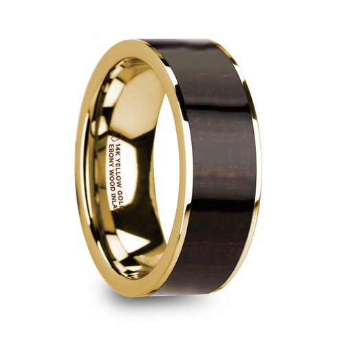 Amphion 14k Yellow Gold Men's Wedding Band with Ebony Wood Inlay