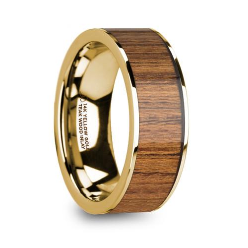 Charibert 14k Yellow Gold Men's Wedding Band with Teak Wood Inlay