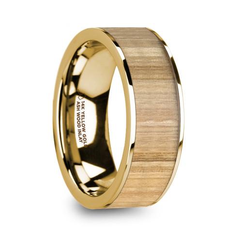 Koint 14k Yellow Gold Men's Wedding Band with Ash Wood Inlay