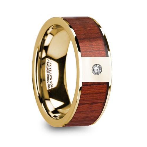 Centwine 14k Yellow Gold Men's Wedding Band with Padauk Wood Inlay & Diamond