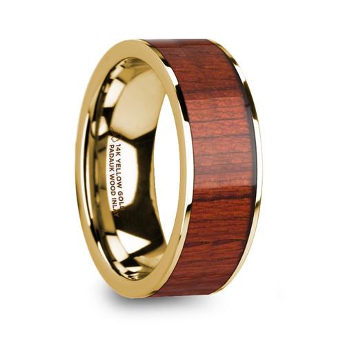 Ram Padauk Wood Inlay 14k Yellow Gold Men's Wedding Band