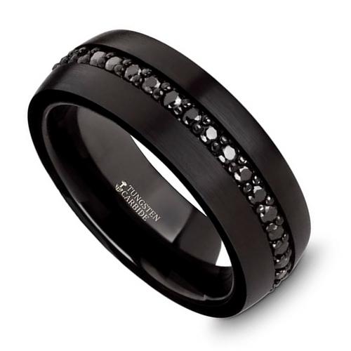 Ernst Black Tungsten Carbide Men's Wedding Band with Black Sapphires