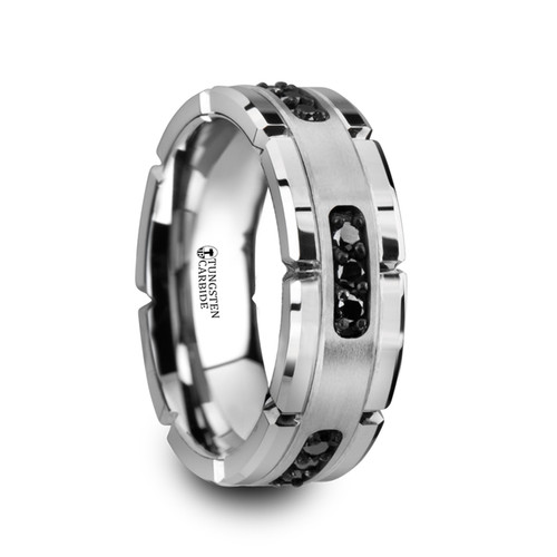 Marcian Grooved Tungsten Men's Wedding Band with Silver Inlay & Black Diamonds