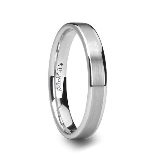 Alboin White Tungsten Carbide Wedding Band with Brushed Center