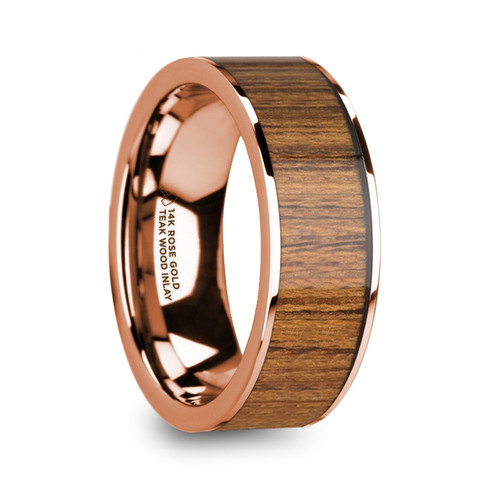 Cuthred 14k Rose Gold Men's Wedding Band with Teak Wood Inlay