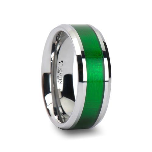 Salians Tungsten Carbide Wedding Band with Green Inlay