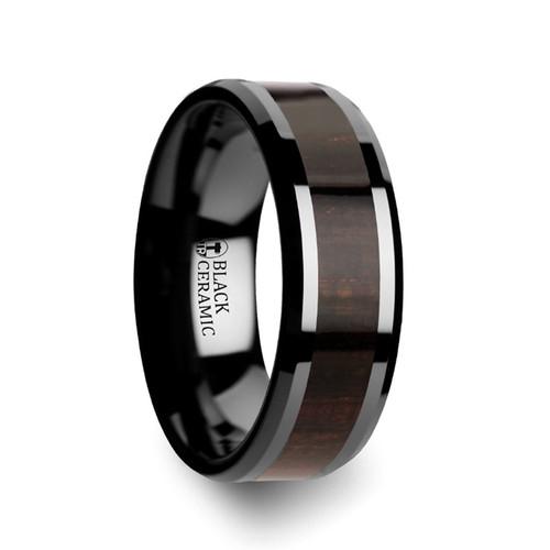 Antiphon Black Ebony Wood Inlay Black Ceramic Men's Wedding Band