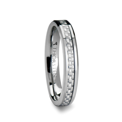 Jashwant Tungsten Carbide Wedding Band with White Carbon Fiber Inlay