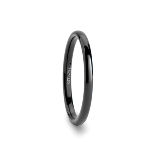 Anund Domed Black Tungsten Carbide Women's Wedding Band