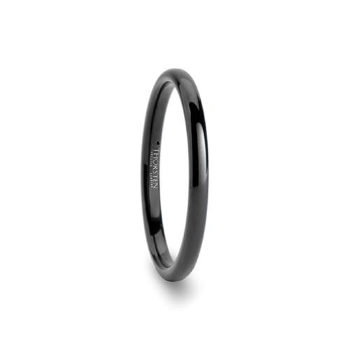 Anund Domed Black Tungsten Carbide Women's Wedding Band