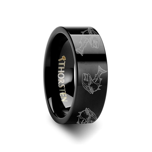 Anthony Jumping Fish Sea Print Pattern Engraved Black Tungsten Wedding Band