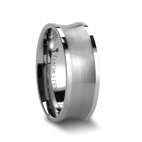 Archibald Tungsten Carbide Men's Wedding Band with Brushed Concave Center