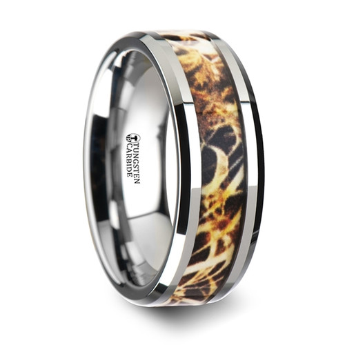 Clovis Tungsten Carbide Men's Wedding Band with Grassland Leaves Camouflage Inlay