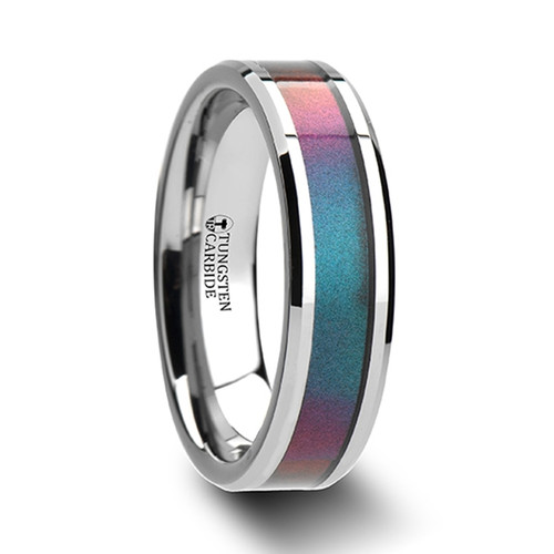 Nikagoras Tungsten Carbide Wedding Band with Blue & Purple Color Changing Inlay
