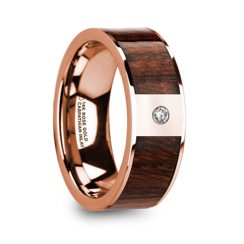 Pythodorus 14k Rose Gold Men's Wedding Band with Carpathian Wood Inlay & Diamond