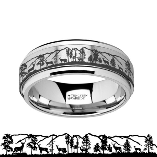 Philippe Spinning Deer Engraved Tungsten Carbide Wedding Band