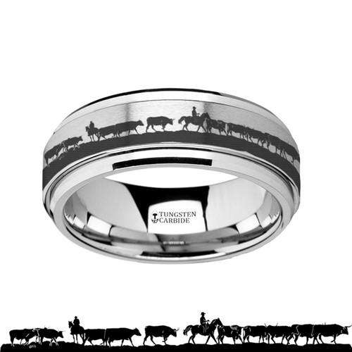 Hugues Spinning Herding Cattle Engraved Tungsten Carbide Wedding Band