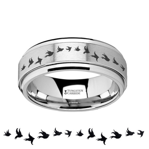 Jayaba Spinning Flying Birds Engraved Tungsten Carbide Wedding Band