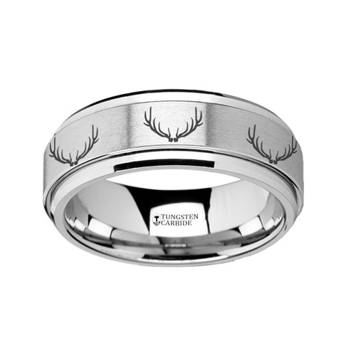 Nicocles Spinning Deer Antlers Engraved Tungsten Carbide Wedding Band