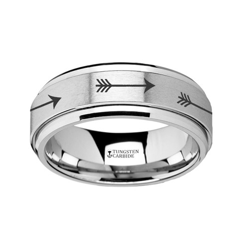 Ewelot Spinning Arrow Engraved Tungsten Carbide Wedding Band