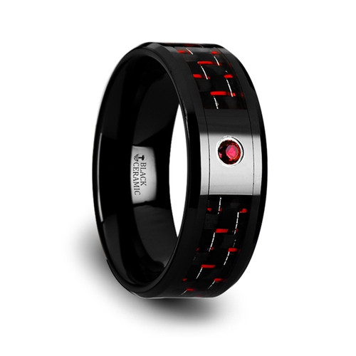 Sorrell Black Ceramic Wedding Band with Black/Red Carbon Fiber Inlay & Ruby
