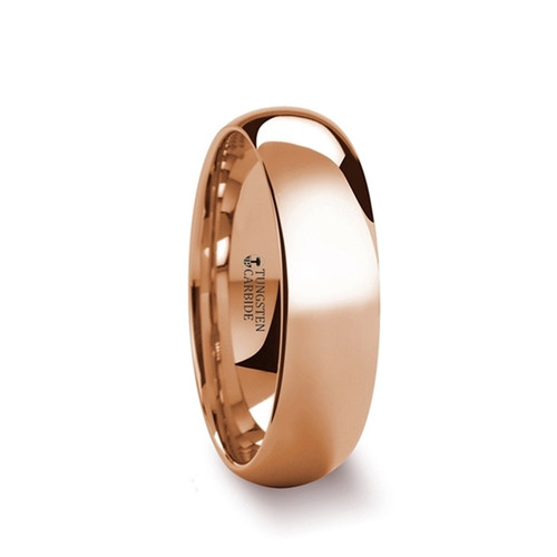 Cenwalh Traditional Domed Rose Gold Plated Tungsten Carbide Wedding Band