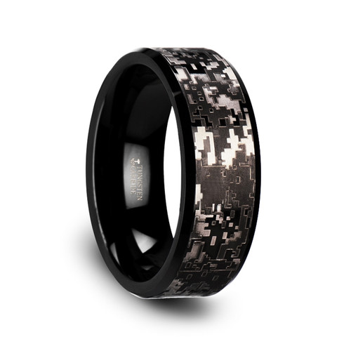 Augustulus Black Tungsten Carbide Men's Wedding Band with Engraved Digital Camouflage