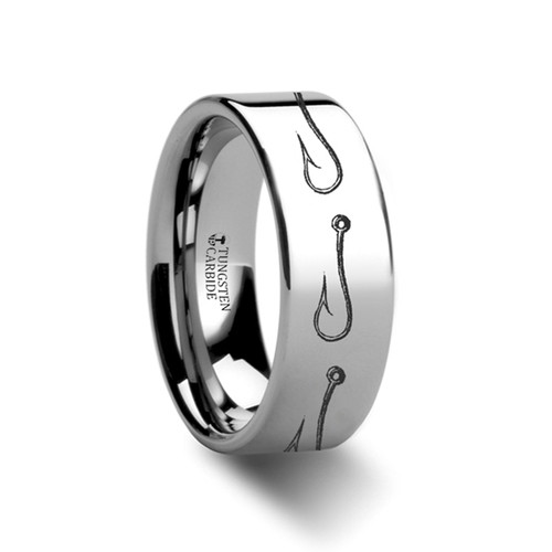 Awibre Simple Artistic Fishing Hook Pattern Engraved Tungsten Wedding Band