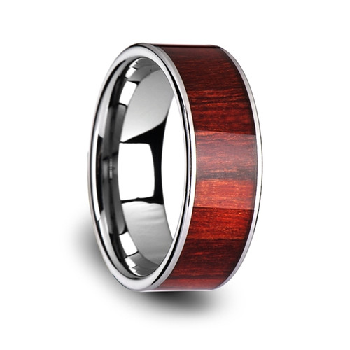 Archelaus Tungsten Carbide Wedding Band with Exotic Brazilian Rose Wood Inlay