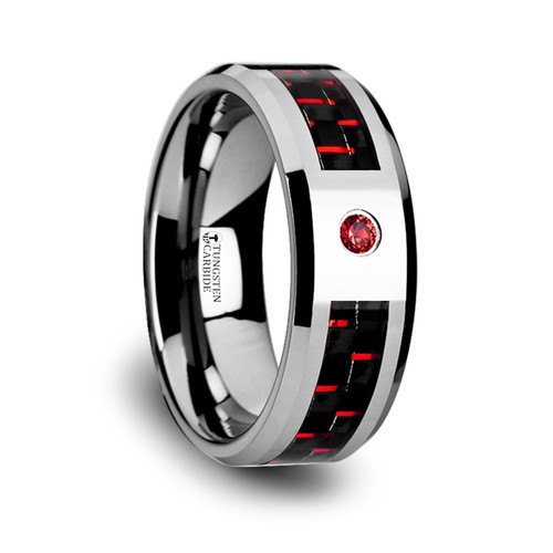 George Tungsten Carbide Men's Wedding Band with Black & Red Carbon Fiber Inlay and Red Diamond
