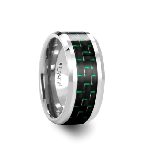 Domitian Tungsten Carbide Men's Wedding Band with Black & Green Carbon Fiber Inlay