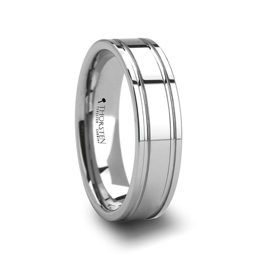 Alexios Tungsten Carbide Wedding Band with Dual Offset Grooves
