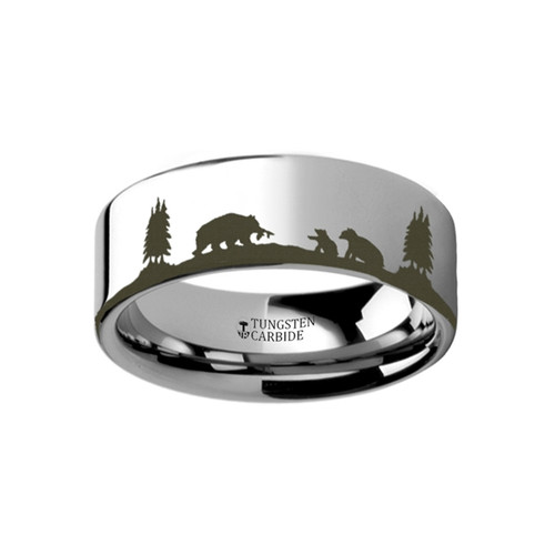Huan Landscape Scene with Bears Engraved Tungsten Wedding Band