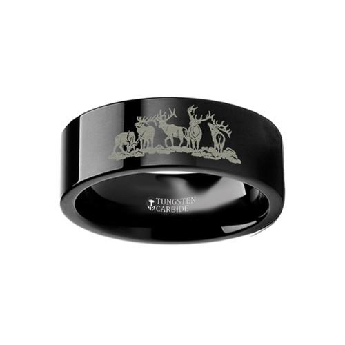 Pami Landscape Scene with Deer Engraved Black Tungsten Wedding Band