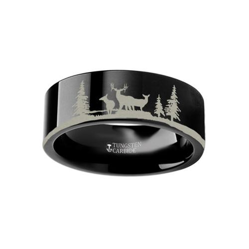 Anthemius Landscape Scene with Deer Engraved Black Tungsten Wedding Band