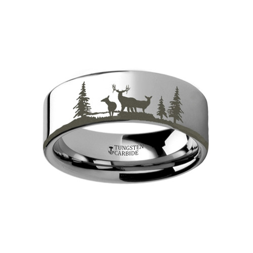 Lakon Landscape Scene with Deer Engraved Tungsten Wedding Band