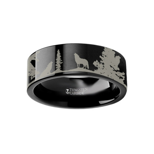 Xerxes Landscape Scene Wolves Engraved Black Tungsten Wedding Band
