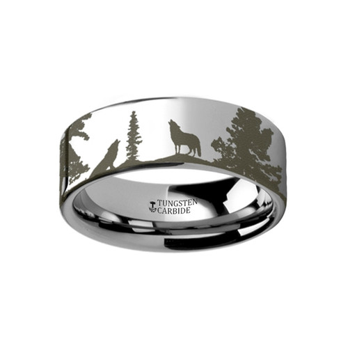 Raja Landscape Scene Wolf Wolves Engraved Tungsten Wedding Band
