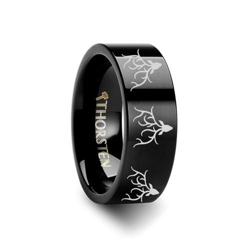 Aethelwald Reindeer Deer Stag head Engraved Black Tungsten Wedding Band